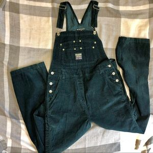 Vintage No Excuses Dark Teal Corduroy Overalls